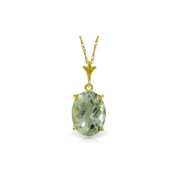 Genuine 3.2 ctw Green Amethyst Necklace 14KT Yellow Gold - REF-20W4Y