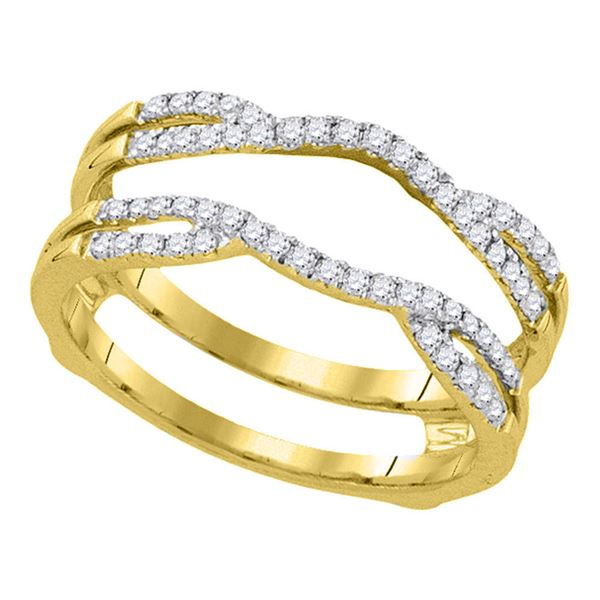 Round Diamond Curved Wrap Ring Guard Enhancer 1/3 Cttw 14KT Yellow Gold