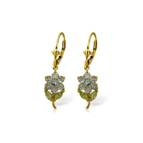 Genuine 2.12 ctw Aquamarine & Pearl Earrings 14KT Yellow Gold - REF-47A4K