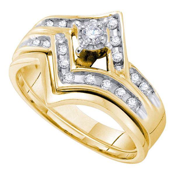 Diamond Chevron Bridal Wedding Ring Band Set 1/4 Cttw 10KT Yellow Gold