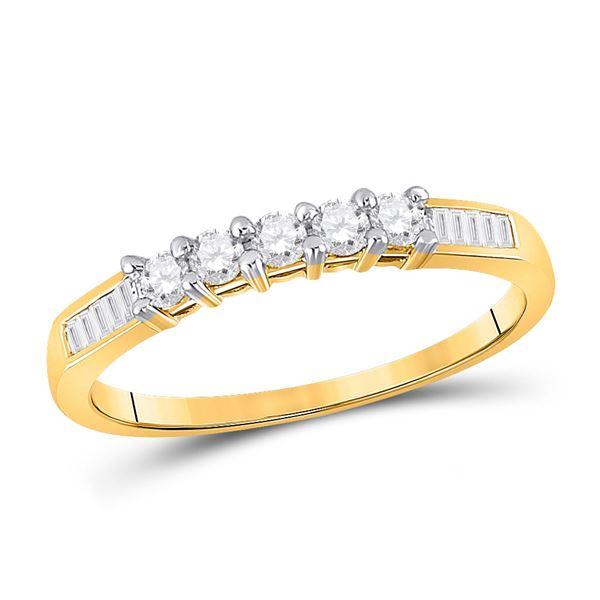 Round Diamond Wedding 5-Stone Anniversary Band 1/3 Cttw 10KT Yellow Gold