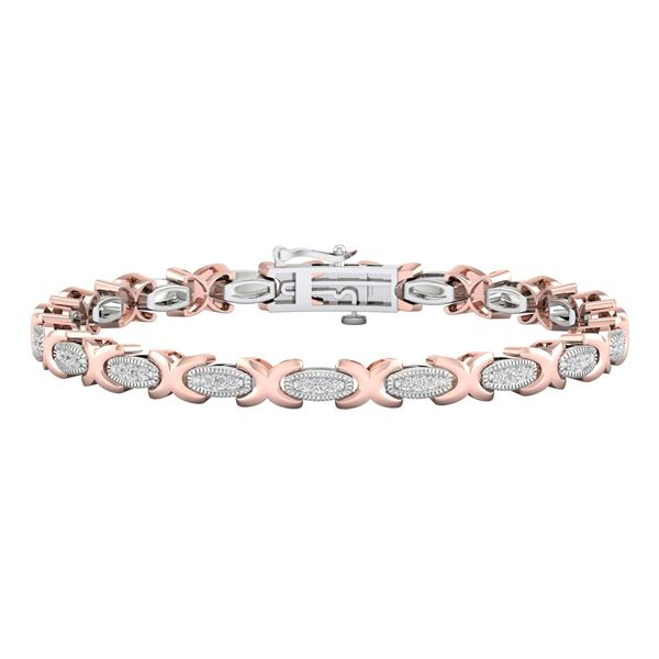 Round Diamond Link Bracelet 1/2 Cttw 10KT Two-tone Gold