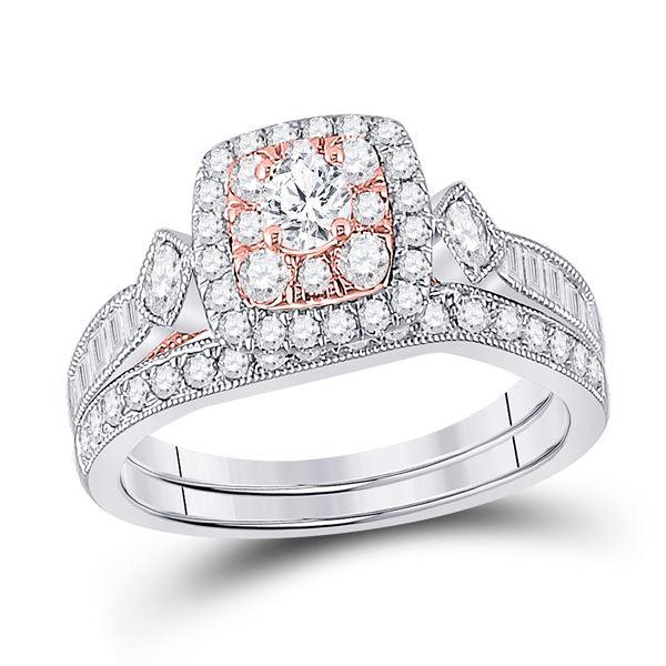 Diamond Bridal Wedding Ring Band Set 1 Cttw 10KT Two-tone Gold