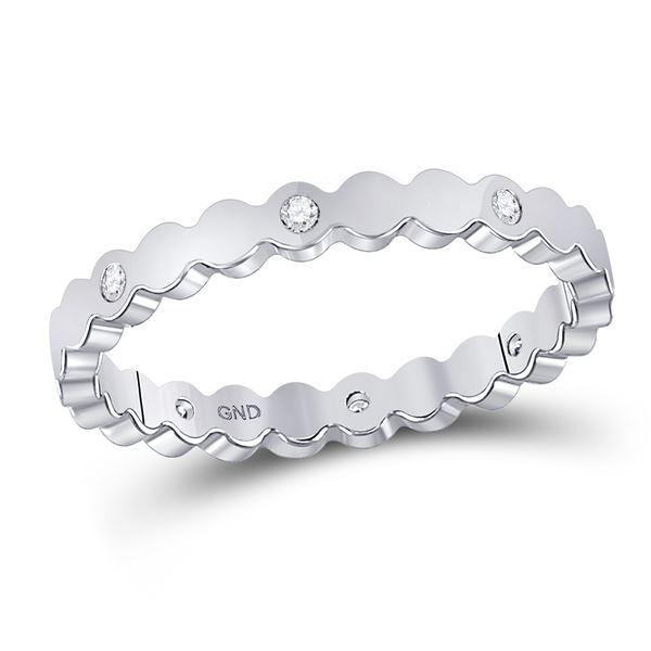 Round Diamond Machine-Set Band Ring 1/12 Cttw 14KT White Gold