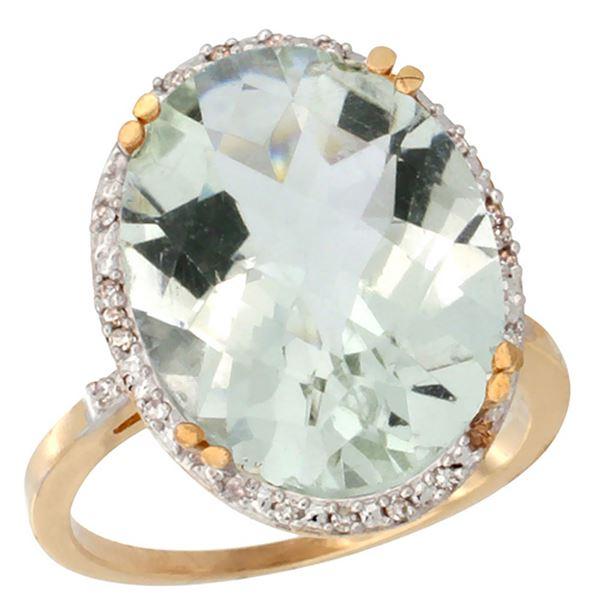 13.71 CTW Amethyst & Diamond Ring 10K Yellow Gold - REF-57Y6V
