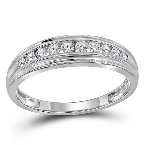 Round Diamond Single Row Band Ring 1/4 Cttw 10KT White Gold