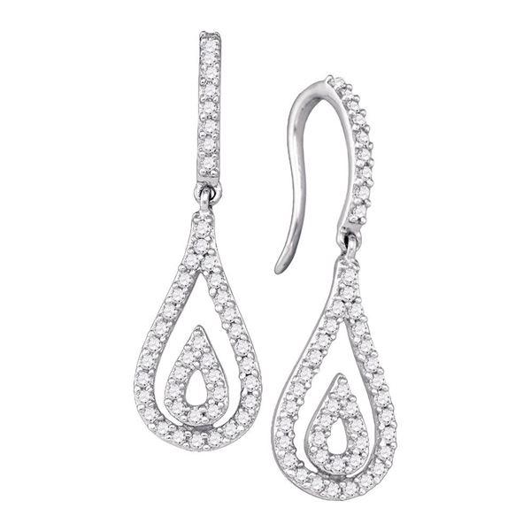 Round Diamond Teardrop Dangle Earrings 1/2 Cttw 10KT White Gold