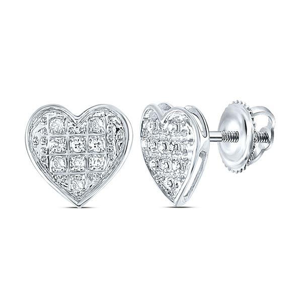 Round Diamond Heart Earrings 1/20 Cttw 10KT White Gold