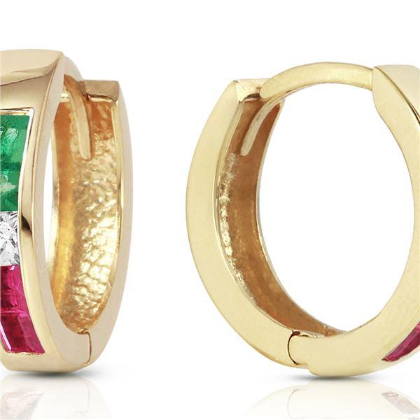 Genuine 1.28 ctw Emerald, White Topaz & Ruby Earrings 14KT Yellow Gold - REF-39W2Y