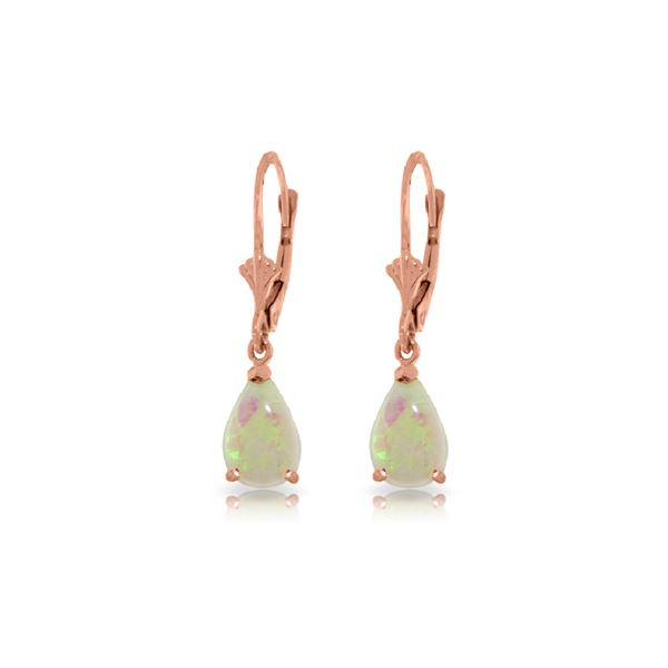Genuine 1.55 ctw Opal Earrings 14KT Rose Gold - REF-30Y5F