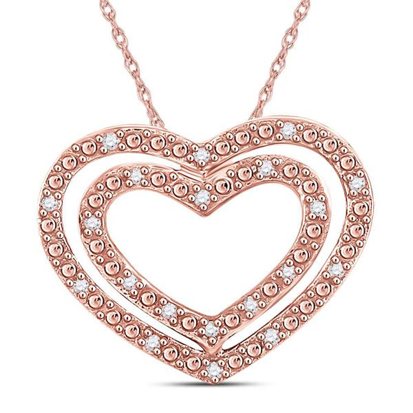 Round Diamond Double Heart Pendant 1/12 Cttw 14KT Rose Gold