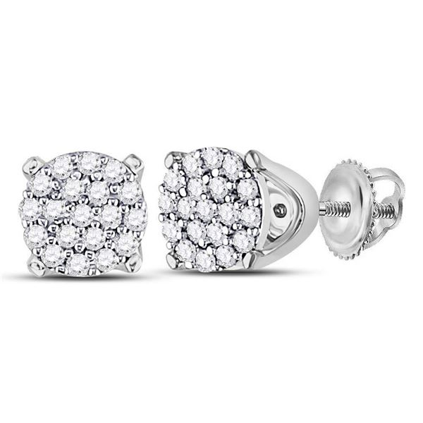 Round Diamond Cluster Earrings 1/8 Cttw 10KT White Gold