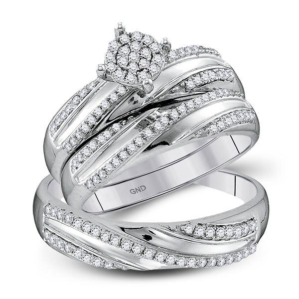 Diamond Cluster Matching Wedding Set 1/2 Cttw 10KT White Gold