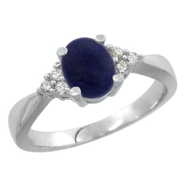 0.81 CTW Lapis Lazuli & Diamond Ring 10K White Gold - REF-27M5A