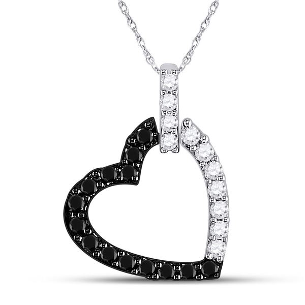 Round Black Color Enhanced Diamond Heart Pendant 1/4 Cttw 14KT White Gold