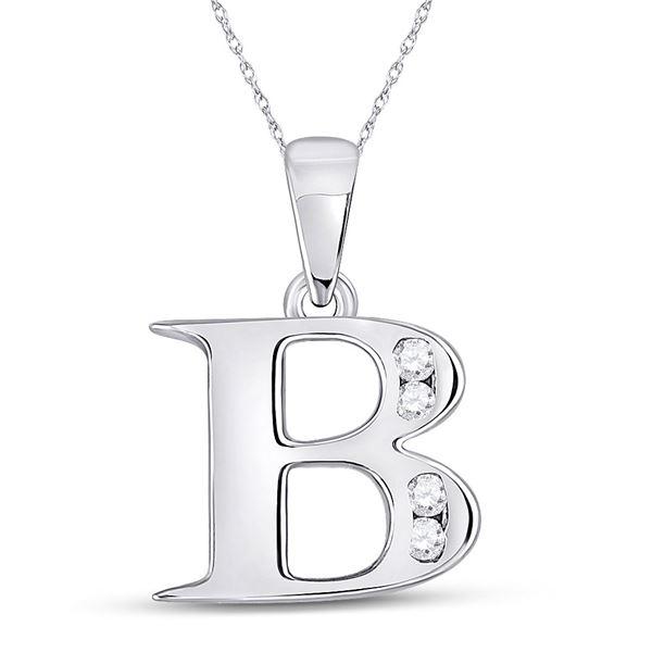 Round Diamond B Letter Pendant 1/20 Cttw 10KT White Gold