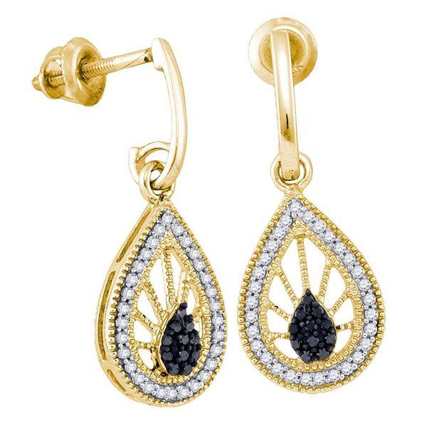 Round Black Color Enhanced Diamond Teardrop Dangle Earrings 1/4 Cttw 10KT Yellow Gold