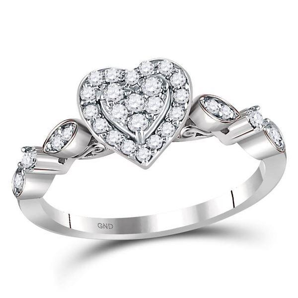 Round Diamond Heart Cluster Ring 1/3 Cttw 14KT White Gold