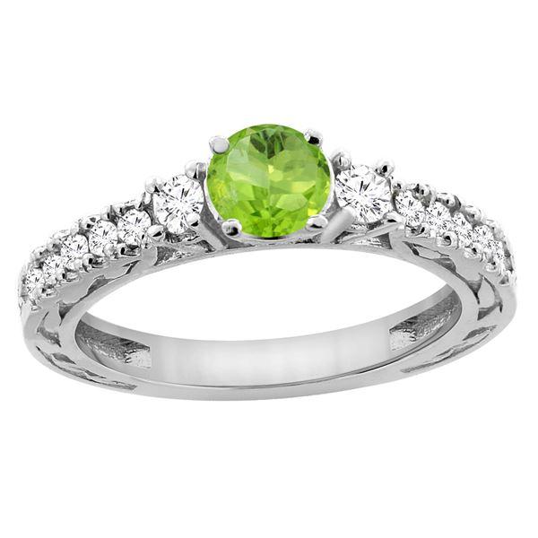 1.10 CTW Peridot & Diamond Ring 14K White Gold - REF-79H3M