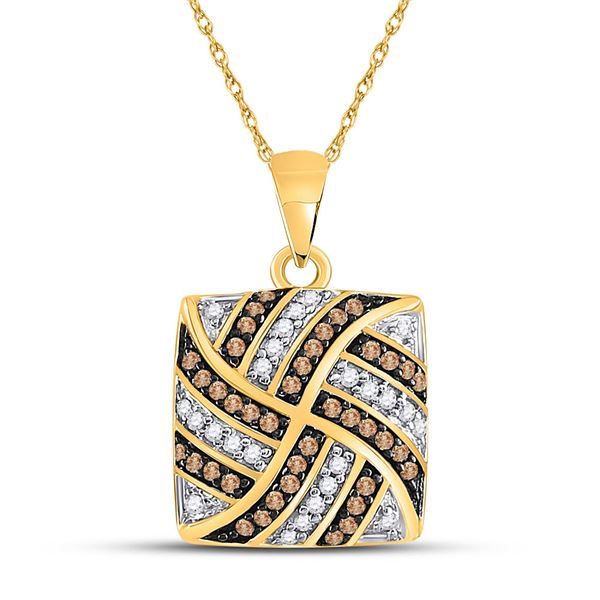 Brown Diamond Square Cluster Pendant 1/4 Cttw 10KT Yellow Gold