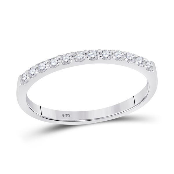 Round Pave-set Diamond Single Row Wedding Band 1/4 Cttw 14KT White Gold