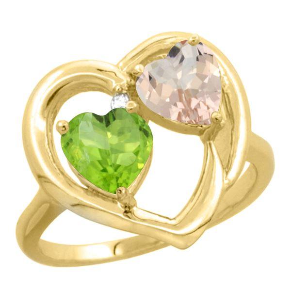 1.91 CTW Diamond, Peridot & Morganite Ring 10K Yellow Gold - REF-26W5F