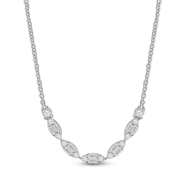 Baguette Diamond Fashion Necklace 1/2 Cttw 14KT White Gold