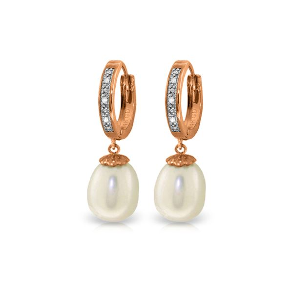 Genuine 8.03 ctw Pearl & Diamond Earrings 14KT Rose Gold - REF-52P3H