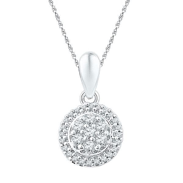 Round Diamond Halo Flower Cluster Pendant 1/4 Cttw 10KT White Gold