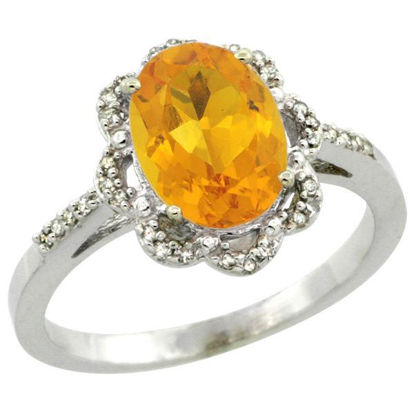 1.86 CTW Citrine & Diamond Ring 10K White Gold - REF-36W5F