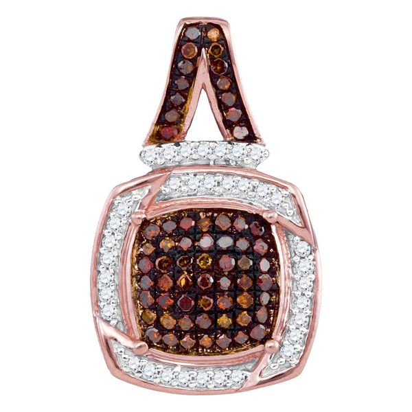 Round Red Color Enhanced Diamond Square Pendant 1/4 Cttw 10KT Rose Gold