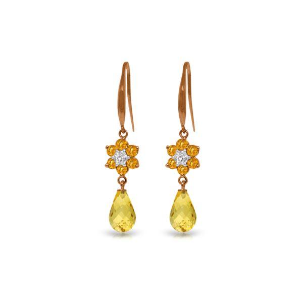 Genuine 5.51 ctw Citrine & Diamond Earrings 14KT Rose Gold - REF-47Z4N