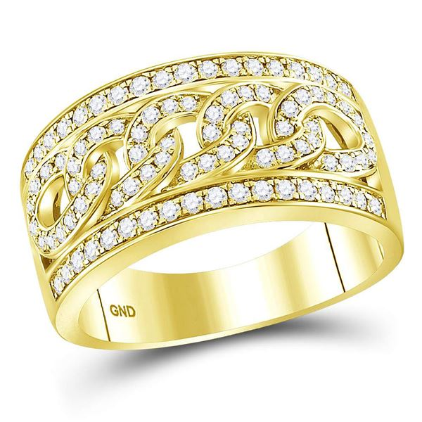 Round Diamond Cuban Link Band Ring 1 Cttw 14KT Yellow Gold