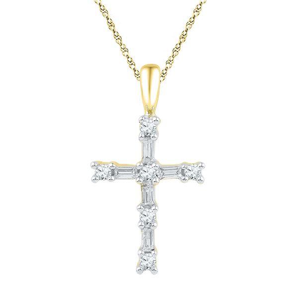 Round Baguette Diamond Cross Pendant 1/4 Cttw 10KT Yellow Gold