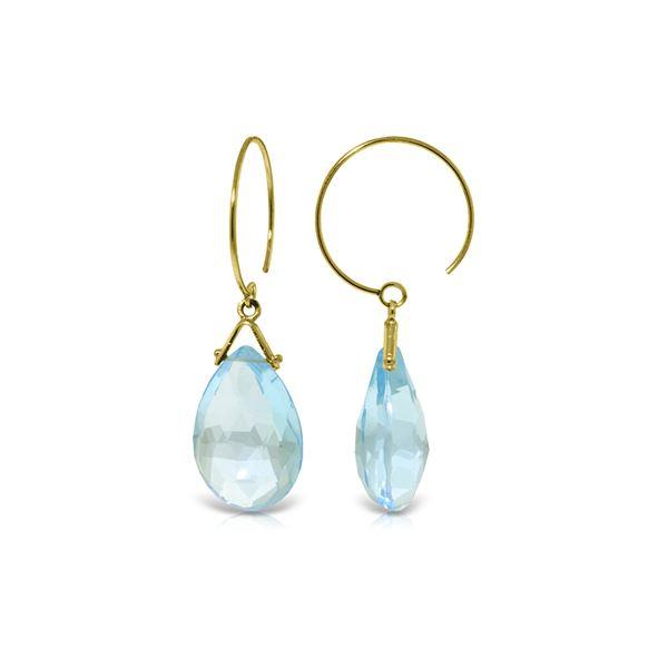 Genuine 10.20 ctw Blue Topaz Earrings 14KT Yellow Gold - REF-23K5V
