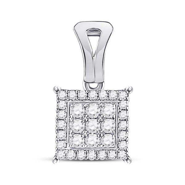Round Diamond Square Cluster Pendant 1/2 Cttw 14KT White Gold