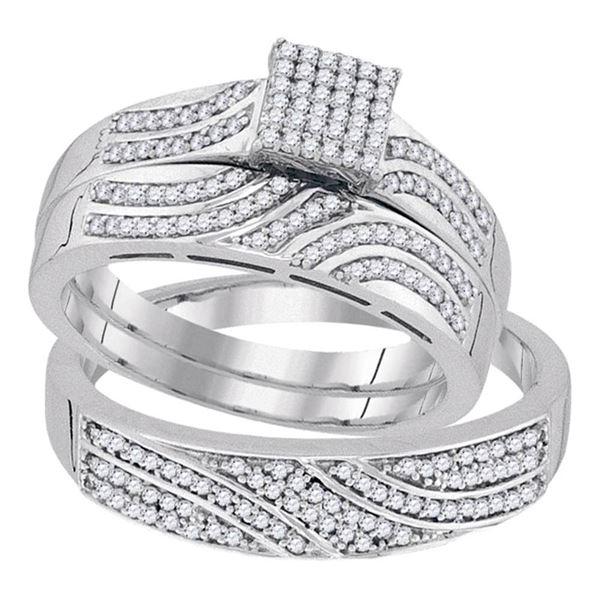 Diamond Square Matching Wedding Set 3/8 Cttw 10KT White Gold