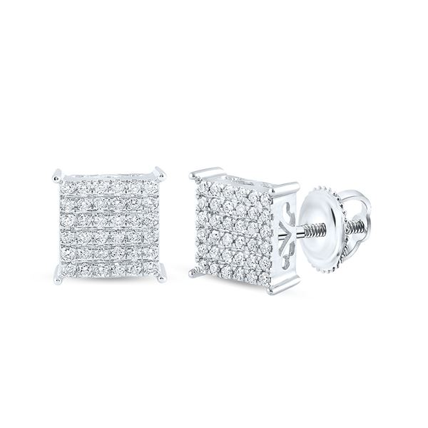 Round Diamond Square Earrings 1/2 Cttw 10KT White Gold