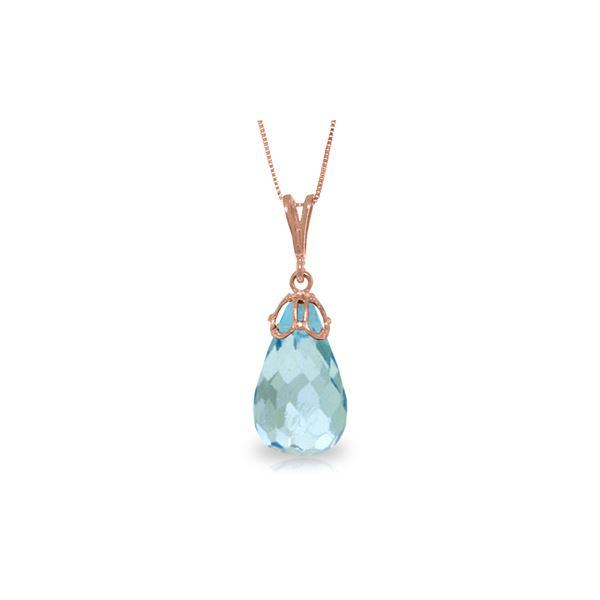 Genuine 10.25 ctw Blue Topaz Necklace 14KT Rose Gold - REF-25F3Z