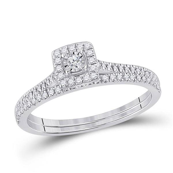 Diamond Halo Bridal Wedding Ring Band Set 1/4 Cttw 10KT White Gold