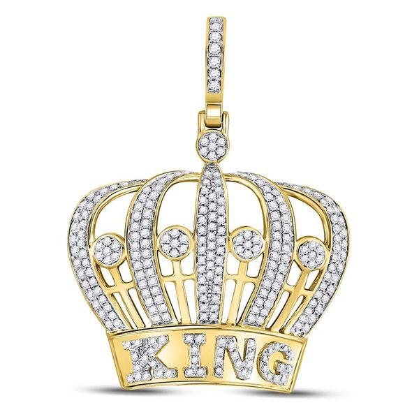 Round Diamond King Crown Charm Pendant 1 Cttw 10KT Yellow Gold