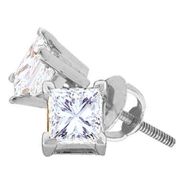 Princess Diamond Solitaire Stud Earrings 5/8 Cttw 14KT White Gold