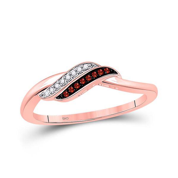 Round Red Color Enhanced Diamond Slender Crossover Ring 1/20 Cttw 10KT Rose Gold