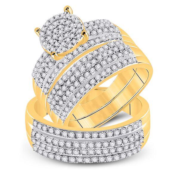Diamond Cluster Matching Wedding Set 1-1/3 Cttw 14KT Yellow Gold