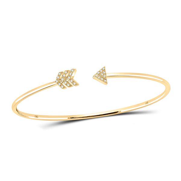 Round Diamond Arrow Bangle Bracelet 1/10 Cttw 10KT Yellow Gold