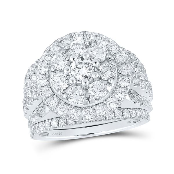 Diamond Bridal Wedding Ring Band Set 3 Cttw 14KT White Gold