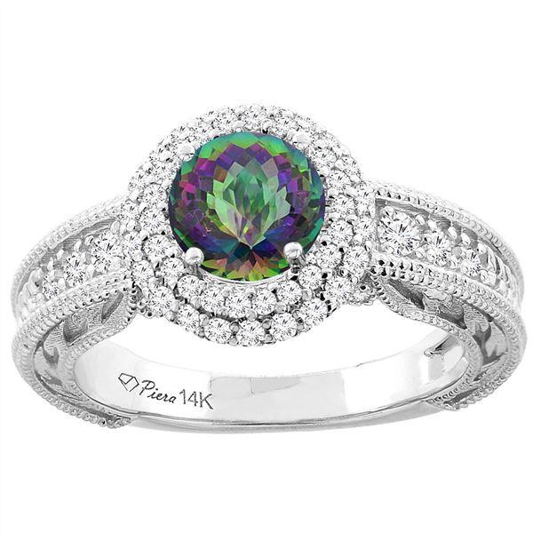 1.45 CTW Mystic Topaz & Diamond Ring 14K White Gold - REF-86M6K