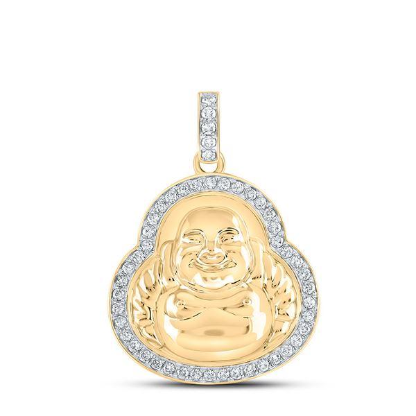 Round Diamond Buddha Charm Pendant 1-1/4 Cttw 10KT Yellow Gold