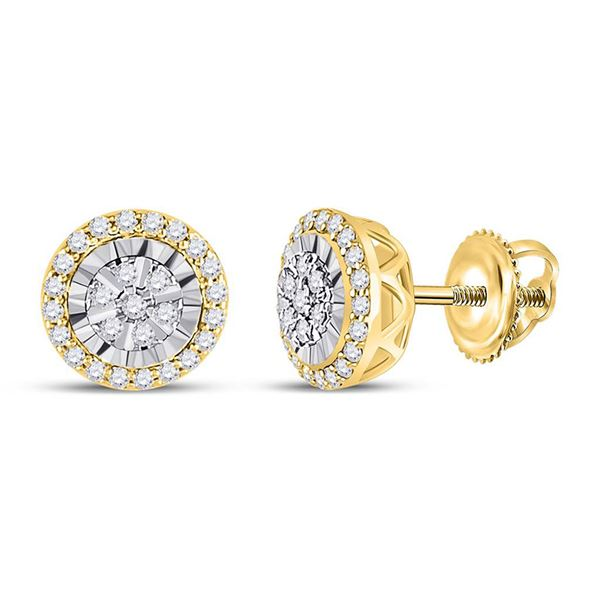 Round Diamond Cluster Earrings 1/4 Cttw 14KT Yellow Gold