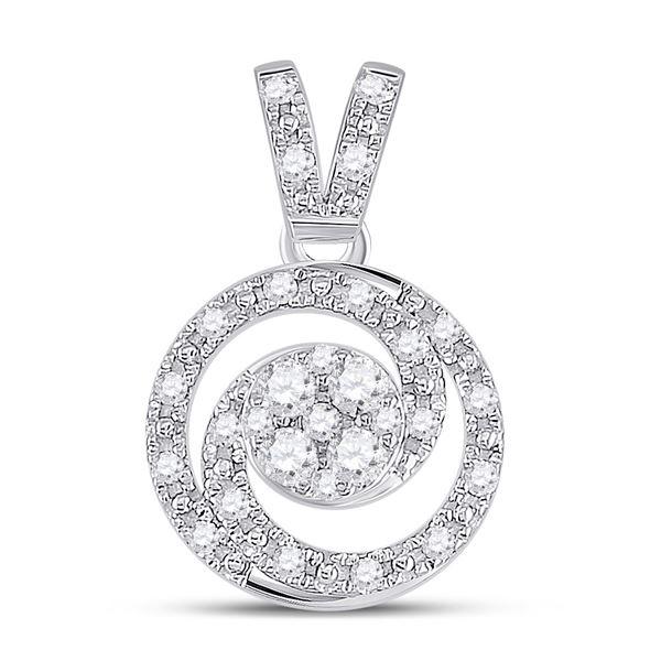 Round Diamond Circle Swirl Cluster Pendant 1/5 Cttw 14KT White Gold